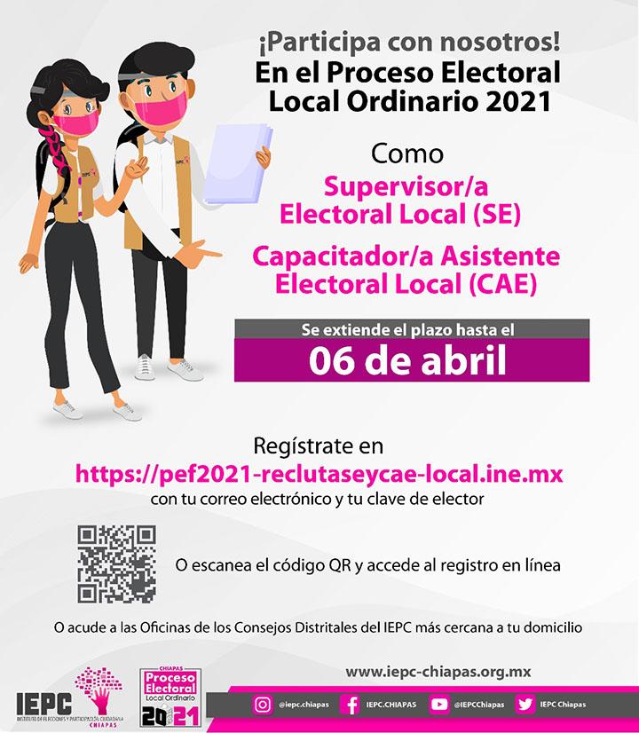 Convocatoria para supervisores electorales y capacitadores asistentes electorales locales